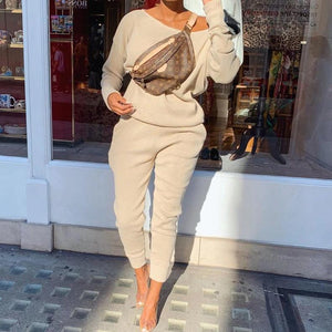 Ficcia Casual Round Neck Long Sleeve Sweater Two-Piece Set