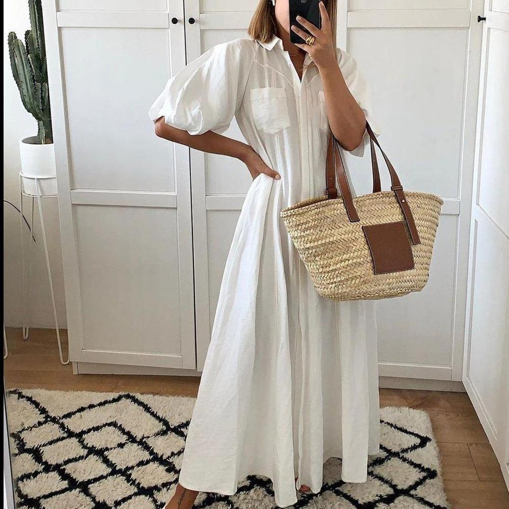 Ficcia White Collar Pockets Buttons Down Maxi Dress