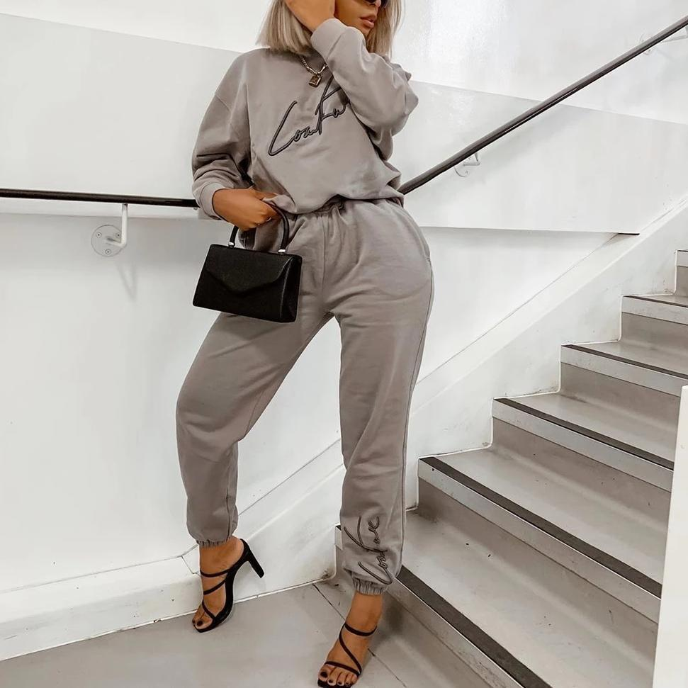 Ficcia Katie Long Sleeve Loose Fit Hoodie With Pant Two-Piece Set