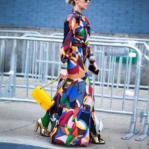Ficcia Chic Multicolor Long Sleeve Print Maxi Dress