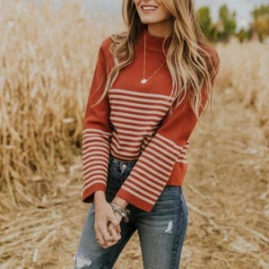 Ficcia Striped Round Neck Long Sleeve Sweater