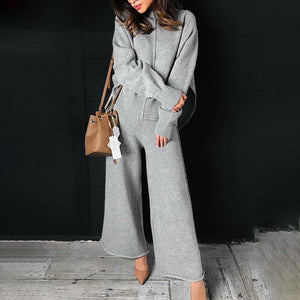 Ficcia Long Sleeve Turtle Neck Casual Two-Piece Set