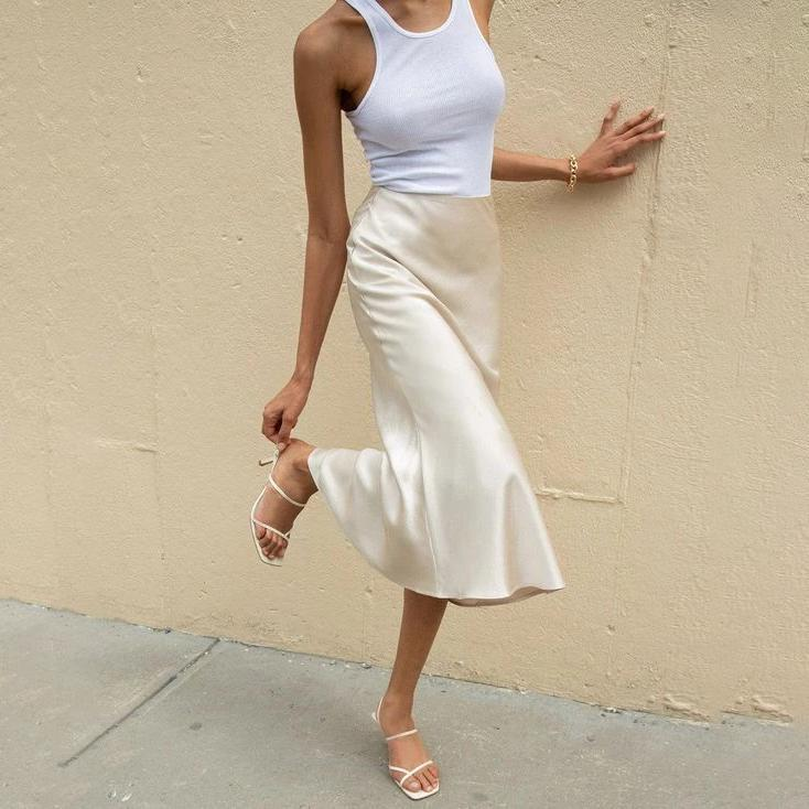 Silk Slip Skirt Midi Cream Satin Skirt