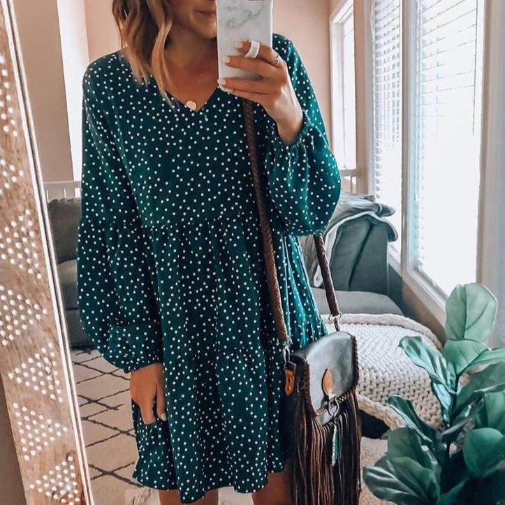 Polka Dot V-Neck Long Sleeve Mini Dress