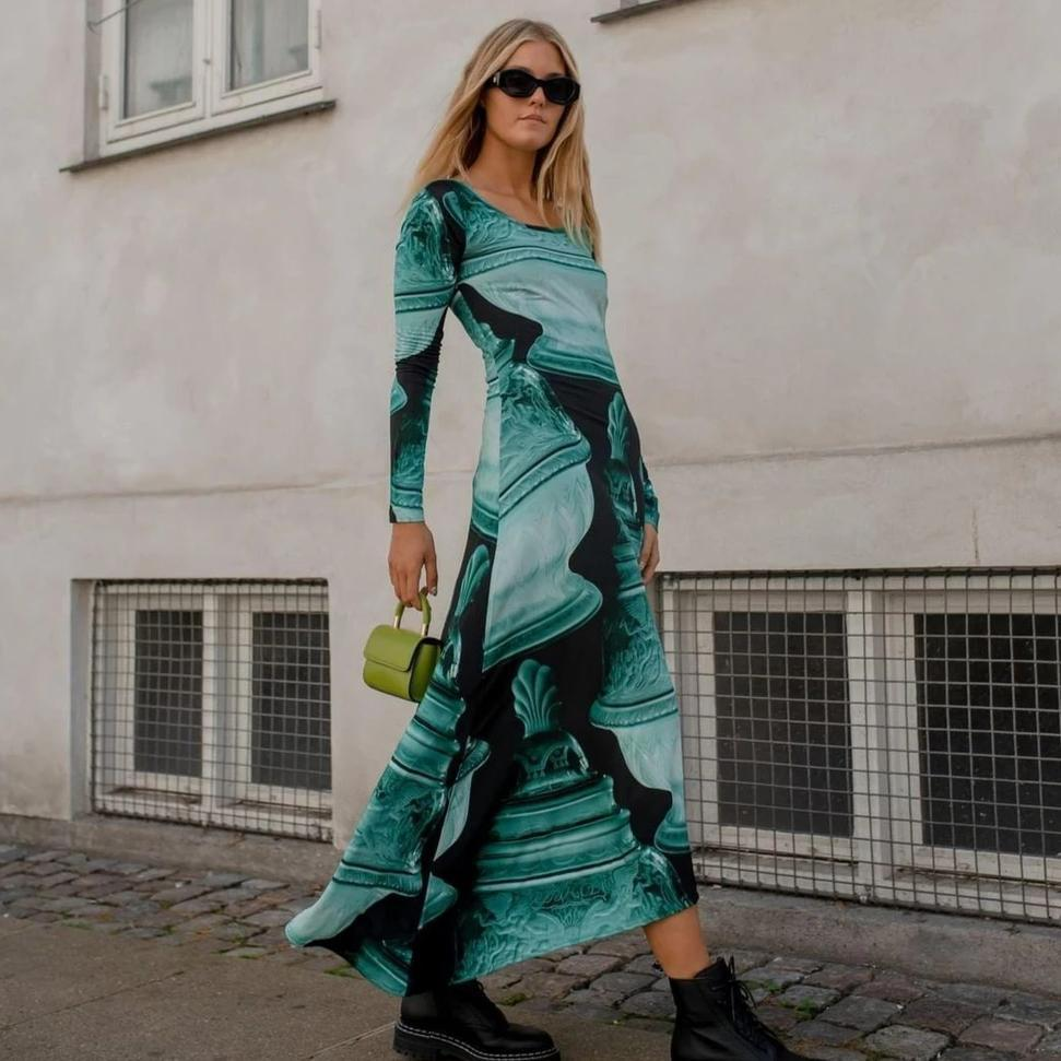 Ficcia Glamorous Green Printed Round Neck Long Sleeve Slim Fit Vacation Dress