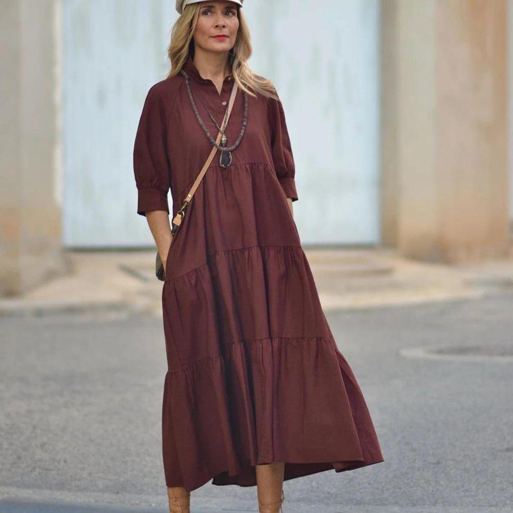 Ficcia Vintage 3/4 Sleeve Pure Color Midi Dress