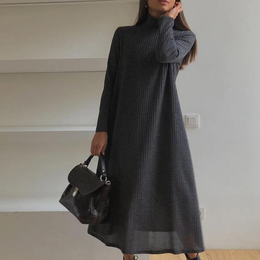 Ficcia Mock Neck Long Sleeve Midi Dress