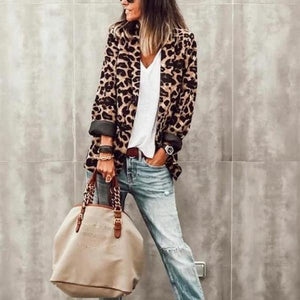 Ficcia Fashion Leopard Casual Coat