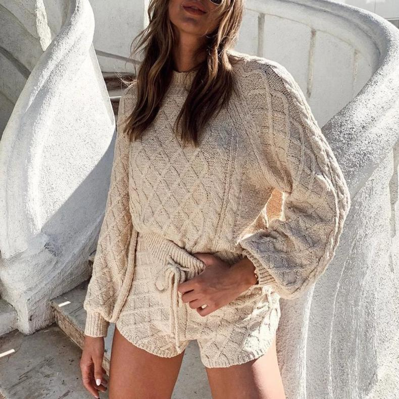 Ficcia Beige Round Neck Long Sleeve Two-Piece Knit Set
