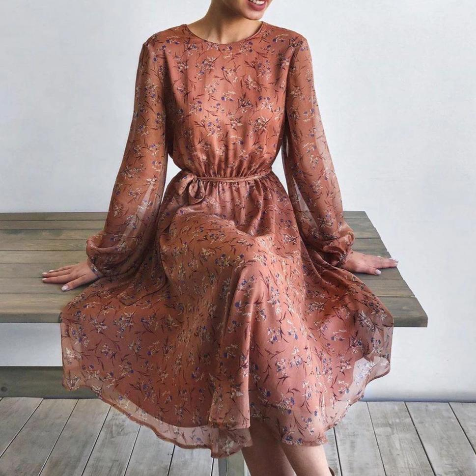 Ficcia Chic Round Neck Long Sleeve Printed Midi Dress