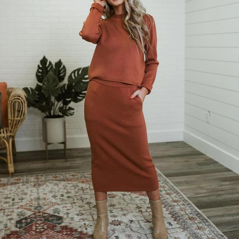 Ficcia Rust Long Sleeves Two-Piece Midi Dress