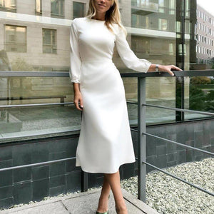 Ficcia Fashion Elegant Plain Long Sleeve Midi Dress