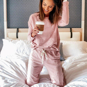 Ficcia Casual Pink Loose Loungewear Two Piece Set