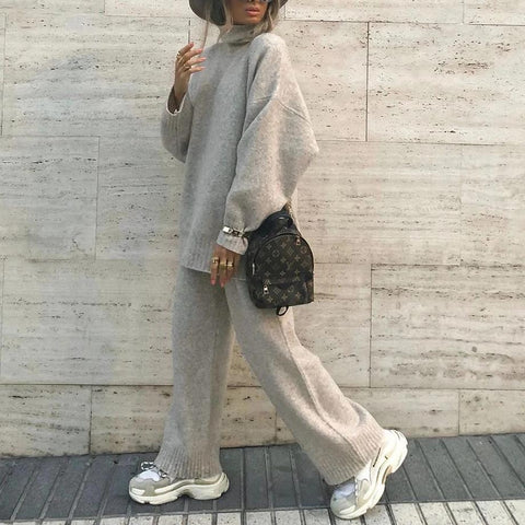 Ficcia Grey Turtle Neck Loose Wide Legs Sweater Knitted Two-Piece Set