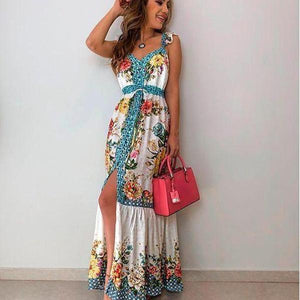 Ficcia Elegant Floral Print Sleeveless Maxi Dress