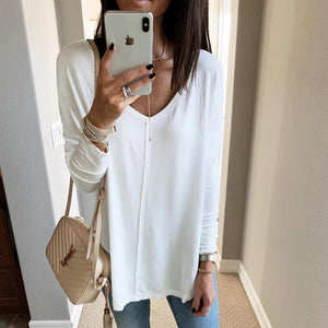 Ficcia Casual White V-Neck Long Sleeve Tee