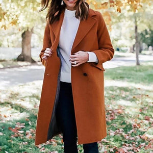Ficcia Long Sleeve Collared Solid Casual Coat