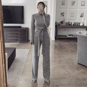 Ficcia Heather Grey Mock Neck Tied Two-Piece Set
