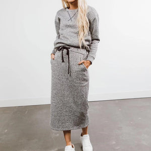 Ficcia Heather Grey Simple Long Sleeve Two-Piece Dress