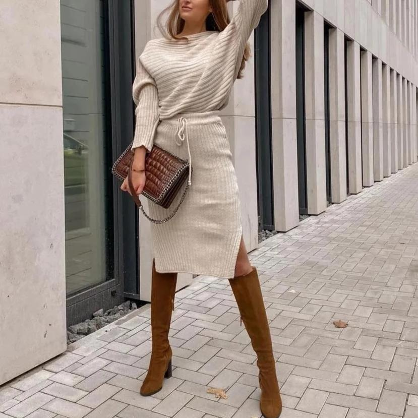 Ficcia Chic Round Neck Long Sleeve Two Piece Dress