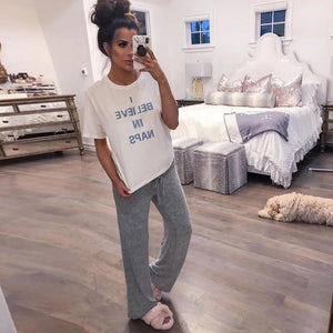 Ficcia Casual Letter Print Round Neck Lounge Set
