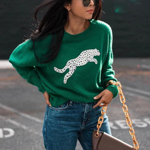 Ficcia Casual Print Round Neck Green Sweater