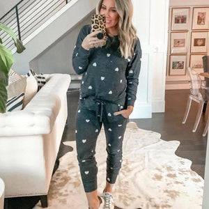 Ficcia Fashion Heart Printed Round Neck Long Sleeve Loungewear Set