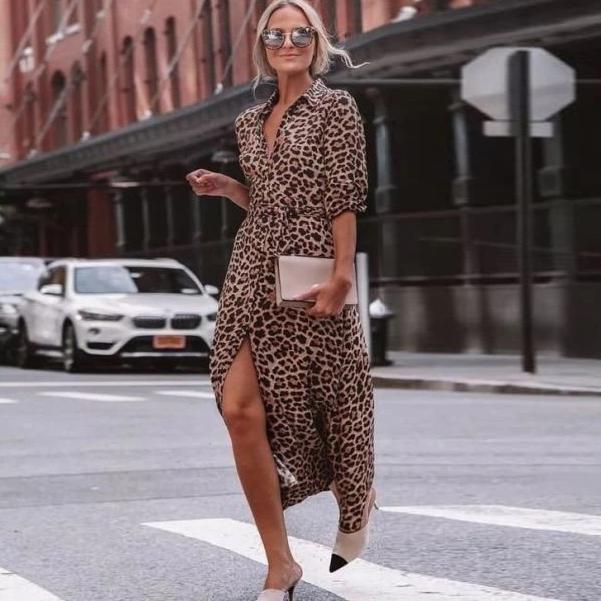 Ficcia Leopard 3/4 Sleeve Front Split Midi Dress