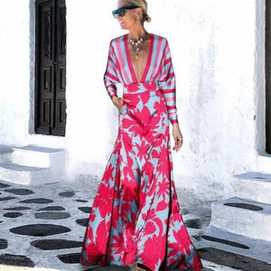 Ficcia Sexy Glamorous Deep V-Neck Long Sleeve Printed Slim Fit Vacation Dress