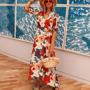 Ficcia Romantic Flower Printed V-Neck Half Sleeve Fitted Vacation Dress
