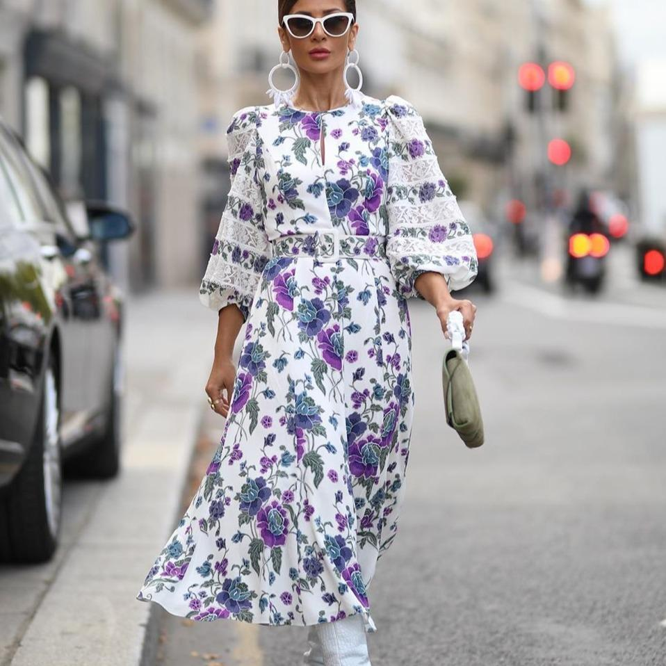 Ficcia Puff Sleeve 3/4 Sleeve Floral Midi Dress
