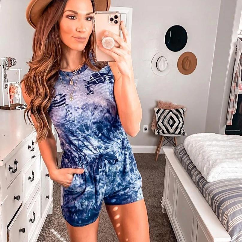 Ficcia New Pocket Print Sleeveless Romper