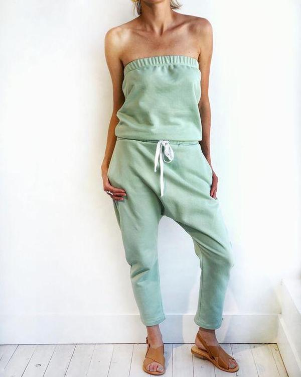 Ficcia Sexy Solid Color Strapless Slim Fit Jumpsuit