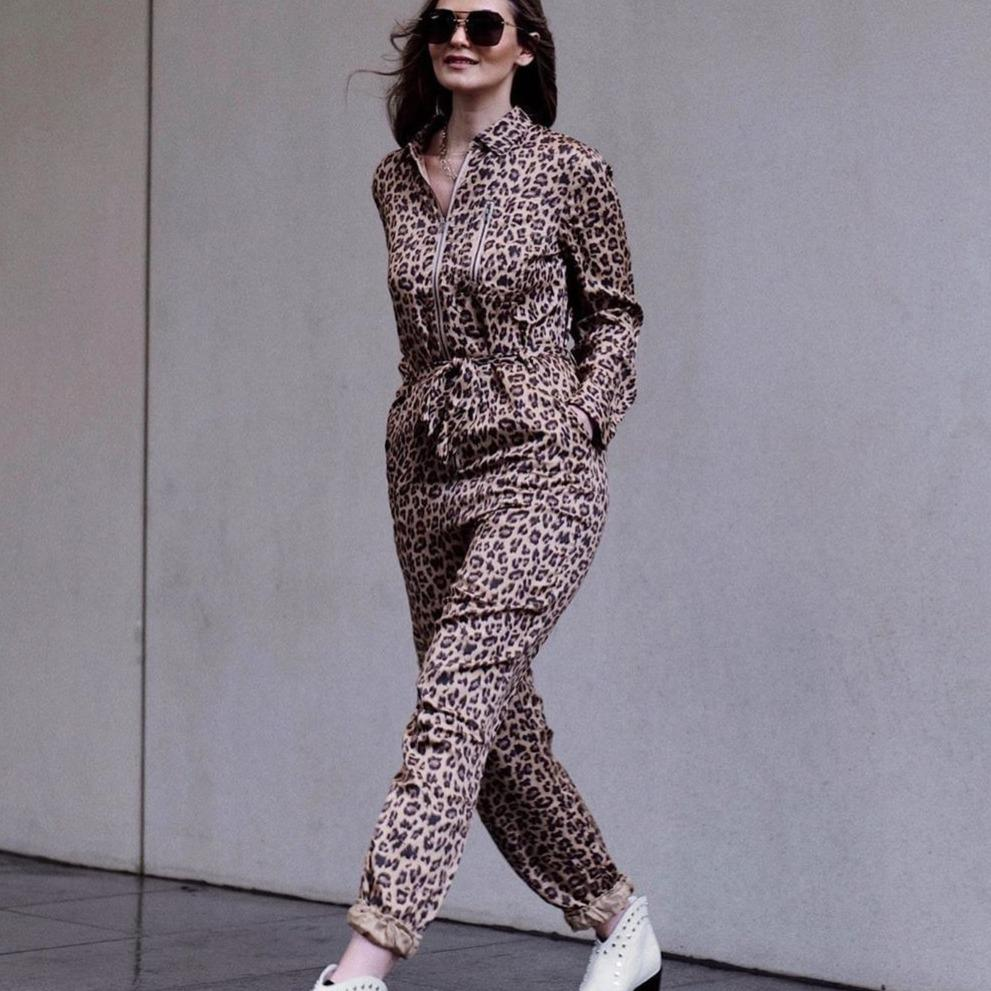 Ficcia Fashion Leopard Lapel Tied Long Sleeve Jumpsuit