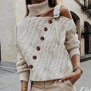 Ficcia Fashion High Collar Open Shoulder Knitted Sweater