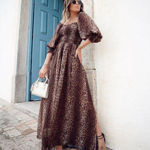 Ficcia Leopard Print Half Puff Sleeve Maxi Dress