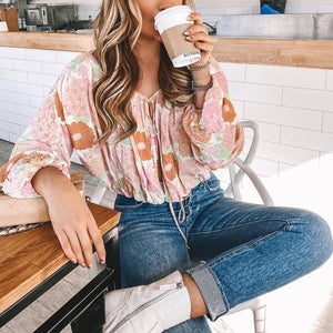 Ficcia Romantic Holiday Style V-Neck Long Sleeve Floral Pleated Blouse