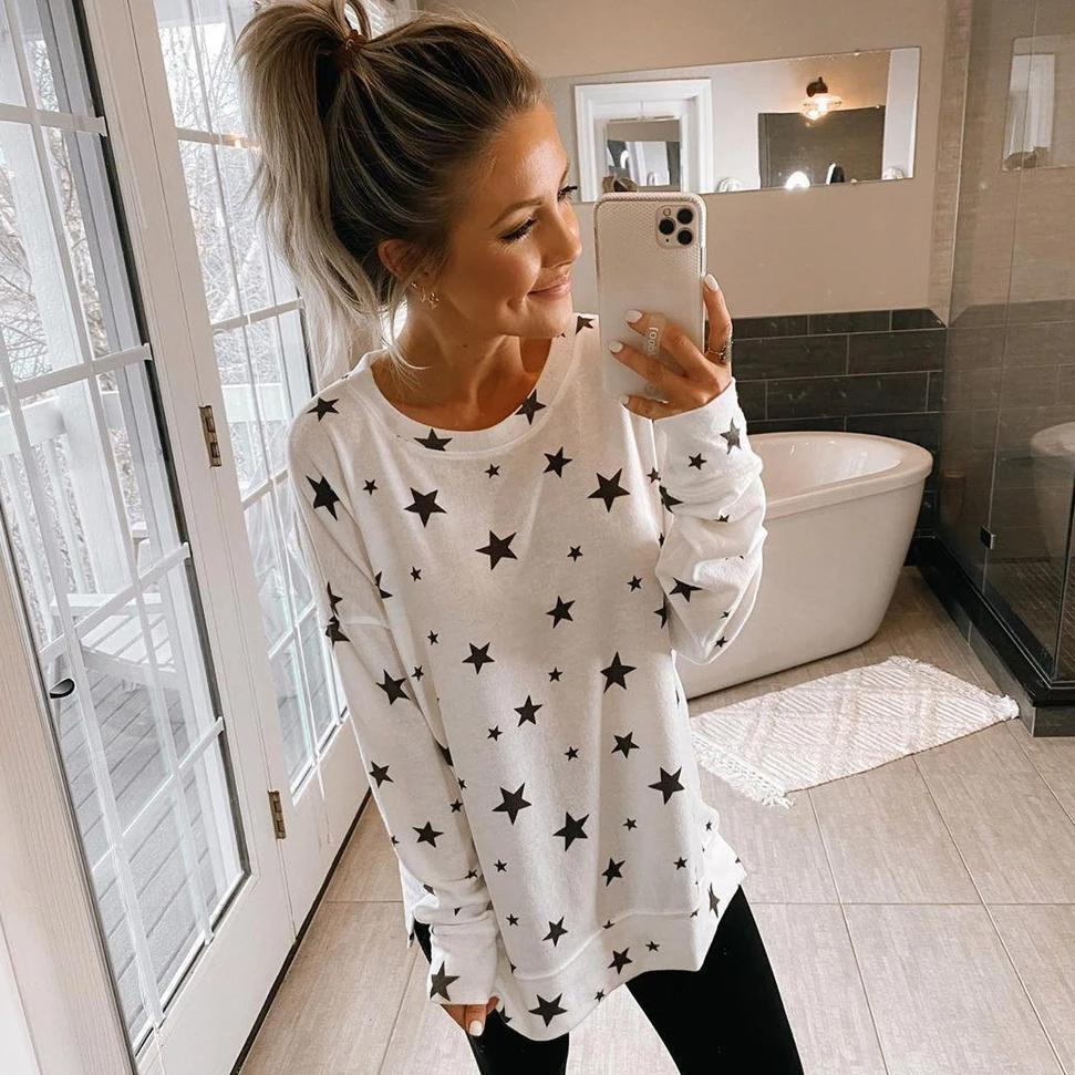 Ficcia Fashion Star Printed Round Neck Long Sleeve Tee