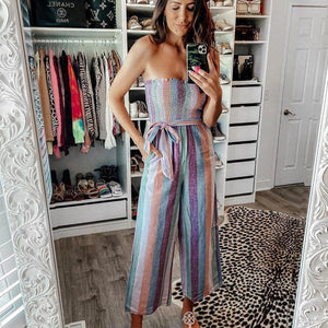 Ficcia Sexy Purple Strapless Printed Slim Fit Jumpsuit