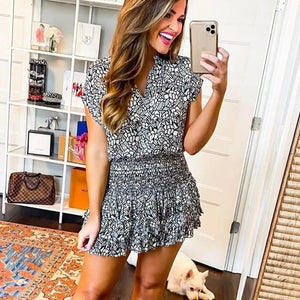 Ficcia New Print Short Sleeve Mini Dress