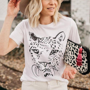 Ficcia Casual Tiger Print Short Sleeve Tee