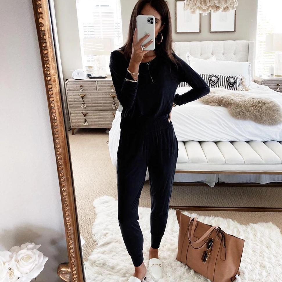 Ficcia Black Round Neck Long Sleeve Fitted Loungewear Set
