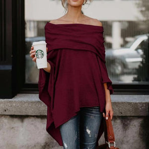 Ficcia Batwing Sleeves Off The Shoulder Plain Top