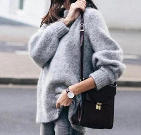 Casual Long Sleeve High Neck Sweater