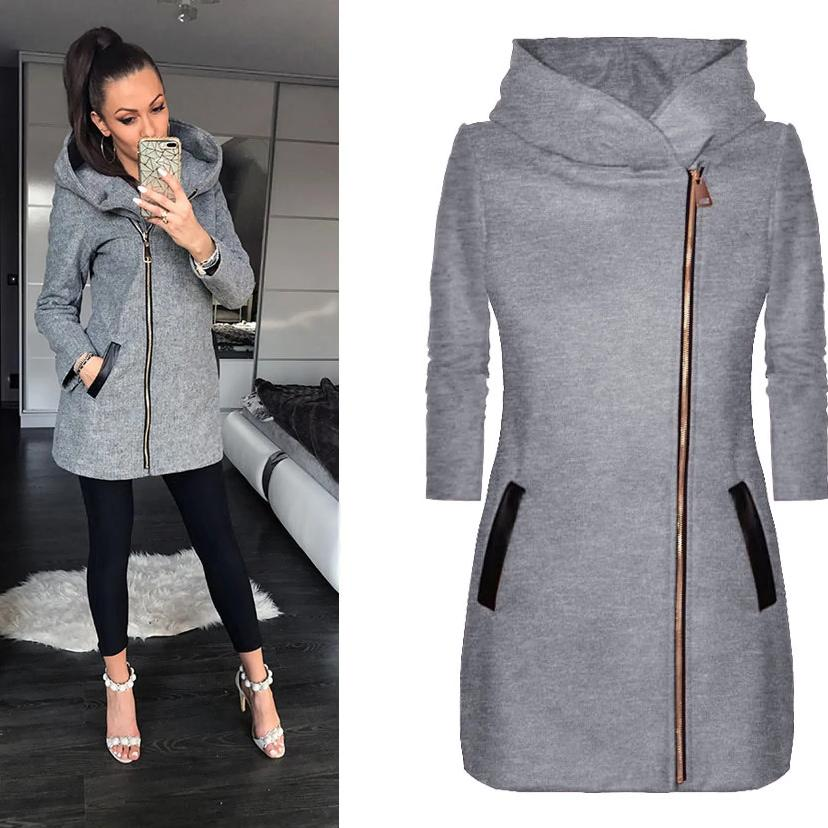 Ficcia Casual Plain Long Sleeve Hoodie Coat