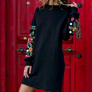 Ficcia Round Neck Long Sleeve Floral Print Dress