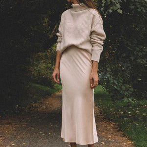 Ficcia Warm Long Sleeve Turtle Neck Midi Dress Two-Piece Sets