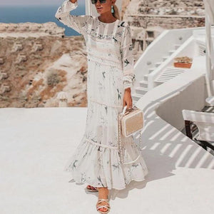 Ficcia Elegant Ruffled Long Sleeve Vacation Maxi Dress
