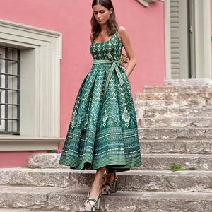 Ficcia Classic Green Print Sleeveless Midi Dress