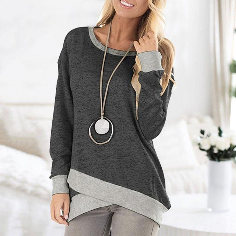 Ficcia Patchwork Pure Color Round Neck Sweatshirt